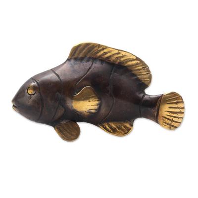 Handcrafted Balinese Bronze Clownfish Figurine
