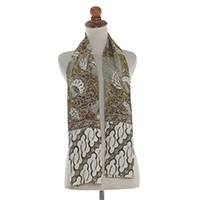 Silk batik scarf, 'Garuda Blessings' - Handmade Taupe, Green and White 100% Silk Batik Scarf