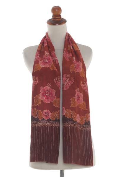 Handmade Brown Silk Batik Scarf With Floral Butterfly
