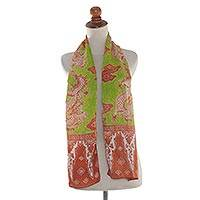 Silk batik scarf, 'Dragon Aura' - Balinese Brown and Green Dragon Motif 100% Silk Batik Scarf