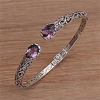 Amethyst cuff bracelet, 'Entangled' - Amethyst and Sterling Silver Cuff Bracelet