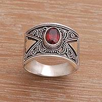 Gold accented garnet cocktail ring, 'Inquisitive' - Garnet and Sterling Silver Cocktail Ring with Gold Accent