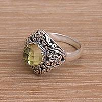 Prasiolite cocktail ring, 'Perennial Glamour'
