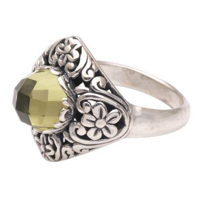 Prasiolite cocktail ring, 'Perennial Glamour' - Balinese Prasiolite and Sterling Silver Cocktail Ring