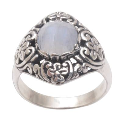 Balinese Rainbow Moonstone and Sterling Silver Cocktail Ring