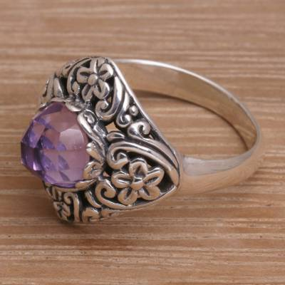 Amethyst cocktail ring, 'Perennial Glamour' - Amethyst Sterling Silver Cocktail Ring with Floral Motif