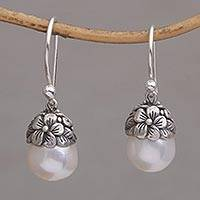 Cultured pearl dangle earrings, 'Demure' - Cultured Pearl and Sterling Silver Floral Dangle Earrings
