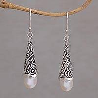 Cultured pearl dangle earrings, 'Afternoon Dew' - Cultured Pearl Sterling Silver Raindrop Dangle Earrings
