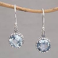 Blue topaz dangle earrings, 'Temptation Blue' - Blue Topaz Round Faceted Dangle Earrings from Bali