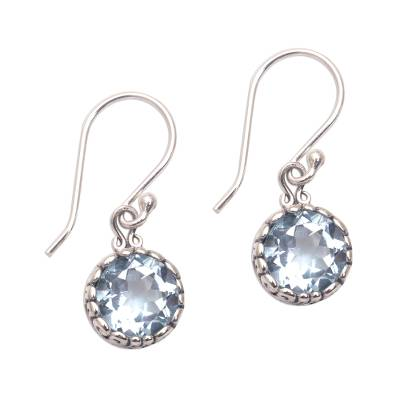 Blue Topaz Round Faceted Dangle Earrings from Bali