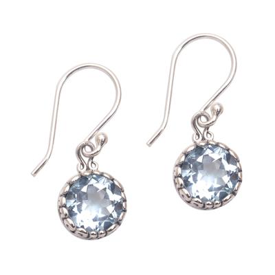 Blue topaz dangle earrings, 'Temptation Blue' - Blue Topaz Round Faceted Dangle Earrings from Bali