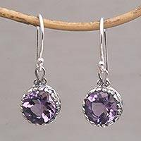 Amethyst dangle earrings, 'Temptation Purple' - Amethyst Round Faceted Dangle Earrings