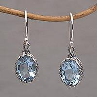Blue topaz dangle earrings, 'Temptation Oval'