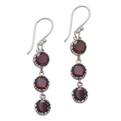 Garnet dangle earrings, 'Everlasting Trinity' - Handmade Balinese Garnet and Sterling Silver Dangle Earrings