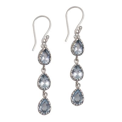 Blue topaz dangle earrings, 'Eternity Drop' - Blue Topaz and Sterling Silver Dangle Earrings from Bali