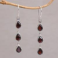 Garnet dangle earrings, 'Eternity Drop' - Garnet and Sterling Silver Dangle Earrings from Bali