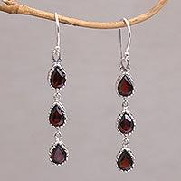 Garnet dangle earrings, 'Eternity Drop'
