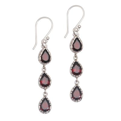 Garnet dangle earrings, 'Eternity Drop' - Garnet and Sterling Silver Dangle Earrings from Bali