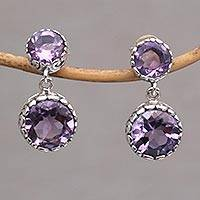Amethyst dangle earrings, 'Memory Everlasting' - Handmade Amethyst and Sterling Silver Dangle Earrings