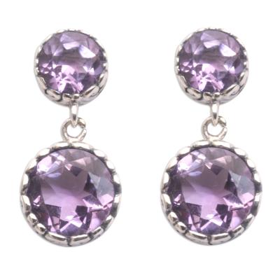 Amethyst dangle earrings, 'Memory Everlasting' - Handmade Amethyst and Sterling Silver Dangle Earrings