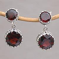 Garnet dangle earrings, 'Memory Everlasting' - Garnet and Sterling Silver Dangle Earrings from Bali