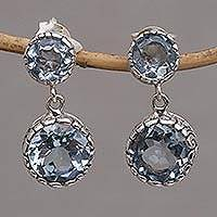 Blue topaz dangle earrings, 'Memory Everlasting' - Blue Topaz and Sterling Silver Dangle Earrings from Bali