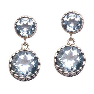 Blue topaz dangle earrings, 'Memory Everlasting' - Blue Topaz and Sterling Silver Dangle Earrings from Bali