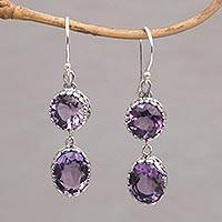 Amethyst dangle earrings, 'Radiant Eternity' - Handmade Amethyst and Sterling Silver Dangle Earrings