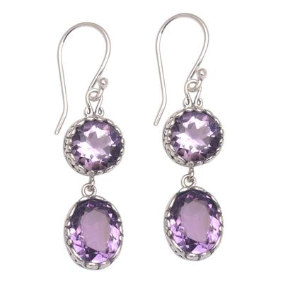 Amethyst dangle earrings, 'Radiant Eternity' - Handmade Amethyst and Sterling Silver Dangle Earrings