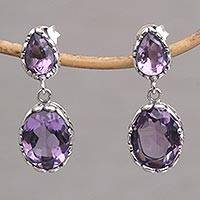 Amethyst dangle earrings, 'Vivacity' - Handmade Amethyst and Sterling Silver Dangle Earrings