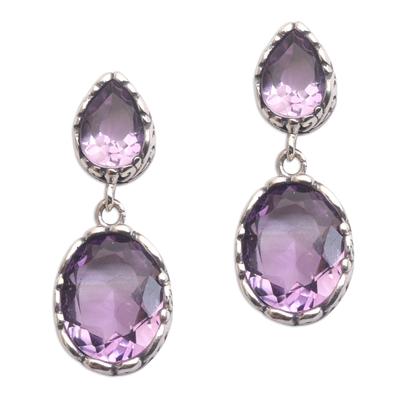 Amethyst dangle earrings, 'Vivacity' - Handmade Amethyst and Sterling Silver Dangle Earrings