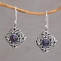 Amethyst dangle earrings, 'Blooming' - Amethyst and Sterling Silver Diamond Shaped Dangle Earrings