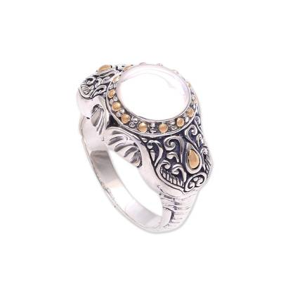Gold accented sterling silver cocktail ring, 'Watch My Back' - Gold Accented Sterling Silver Elephant Ring from Bali