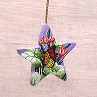 Wood ornament, 'Butterfly in Lavender Skies' - Hand-Painted Wood Butterfly Ornament from Bali