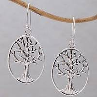 Sterling silver dangle earrings, 'Leafless Trees' - Oval Tree Sterling Silver Dangle Earrings from Bali