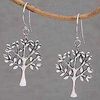Sterling silver dangle earrings, 'Lemon Trees' - Artisan Crafted Sterling Silver Tree Earrings from Bali
