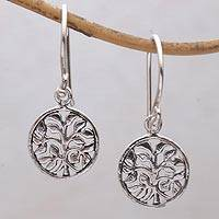 Sterling silver dangle earrings, 'Leafy Windows' - Circular Tree Sterling Silver Dangle Earrings from Bali