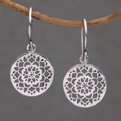 Novica Sterling silver dangle earrings, Dainty Bark