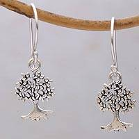 Sterling silver dangle earrings, 'Leafy Wood' - Sterling Silver Tree Dangle Earrings from Bali