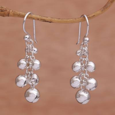 Sterling silver dangle earrings, 'Bola Beauty' - Sterling Silver Orb Dangle Earrings from Bali