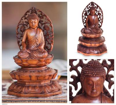 Wood statuette, Buddha in Meditation