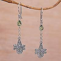 Amethyst dangle earrings, 'Dragonfly Altar' - Handmade 925 Sterling Silver Peridot Dragonfly Earrings