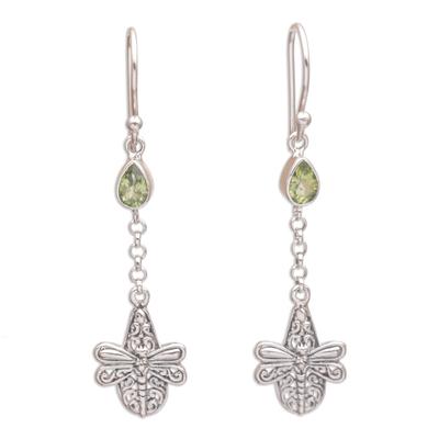 Handmade 925 Sterling Silver Peridot Dragonfly Earrings