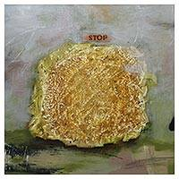 'Stop II' (2010) - Signed Gold-Tone Abstract Painting from Bali