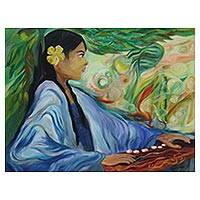 'Playing Kecapi' - Impressionist Painting of a Woman by a Javanese Artist