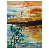 'Flying Free' - Signed Impressionist Seascape Painting from Java
