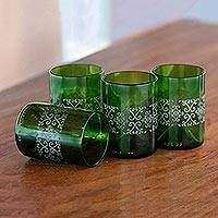 Recycled glass juice glasses, 'Drink in Batik' (set of 4) - Set of Four Batik Juice Glasses from Recycled Bottles