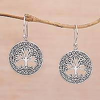 Sterling silver dangle earrings, 'Flourishing Forest' - Handmade in Bali 925 Sterling Silver Tree Dangle Earrings