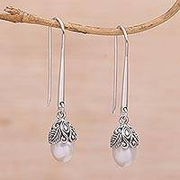 Sterling silver dangle earrings, 'Balinese Acorn' - Handmade 925 Sterling Silver Cultured Pearl Dangle Earrings