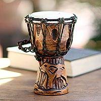 Mahogany djembe drum, 'Elephant Music' - Elephant-Themed Mahogany Djembe Drum from Bali